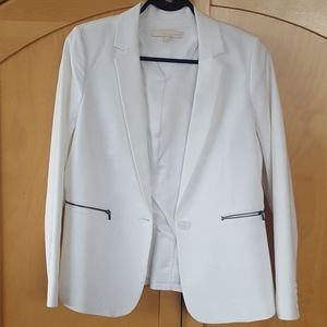 White zipper hardware pockets blazer bnwot